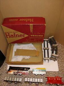 Vintage 40s/50s Hafner Windup Train Set,Box,54,2000 Steam Loco,4 Freight Cars