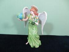 """Homco Home Interior Esperanza Angel of Hope 9 1/2"""" Porcelain Figurine Globe Rare"""