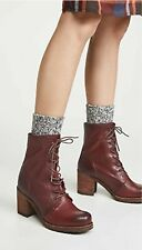 NEW Frye Karen Combat Ankle Boot Plum Womens 5.5