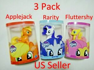 "3 Pcs My Little Pony Rarity Fluttershy & Applejack Figurine 4"" Hasbro US Seller"