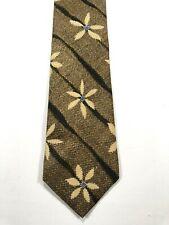 Structure Silk Men's Necktie Tie Brown Blue Floral