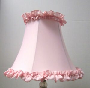 "New PINK RUFFLE Table Lamp Shade  6""x 12""x 9.5""h  softback full frame lined"