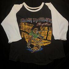 Vintage Iron Maiden Piece Of Mind Number Beast Tour Concert Raglan T Shirt 80s