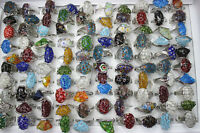 Wholesale Mixed Lots 35pcs Pretty Colorful Glass Silver p Lady's Rings AH232