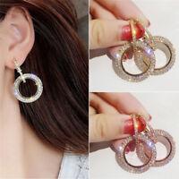 Round Glitter Crystal Rhinestone Drop Dangle Earrings Women Ear Stud Earring EB