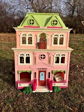 FISHER PRICE Vintage VICTORIAN 4 Story Widow's Peak Doll House Balcony Stairs