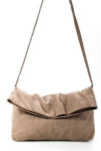 Agnes B Womens Leather Crossbody Bag Brown Medium