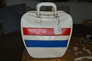 Vintage Brunswick Bowling Ball Bag Red, White, and Blue Metal Rack Retro