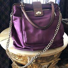 LANVIN bag satin+leather+curb chain, handbag purple designer purse