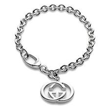 "New Original Gucci Sterling Silver Double G 6.5"" Womens Bracelet YBA190501001017"