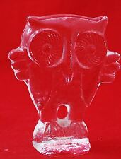 Vintage Glass Crystal Owl Paperweight Figurine