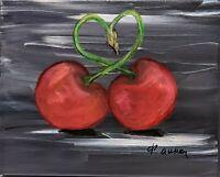 Original oil pastels cherry painting 8 X 10 realism impressionism canvas acrylic