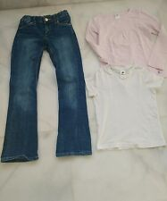 conjunto de pantalon vaquero HyM niña + camisetas, talla 7-8 años, como nuevo