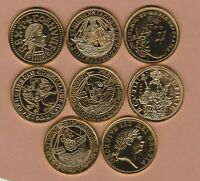 8 HALLMARKED MILLIONAIRES COLLECTION GOLD PLATED SILVER MEDALS NEAR MINT.