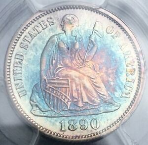 1890 - Seated Liberty Silver Dime - MS 63 PCGS - Monster Colorful Rainbow Toning