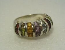 SIZE 8 -  MIXED COLOR GEMSTONES CLUSTER  RING, STERLING SILVER