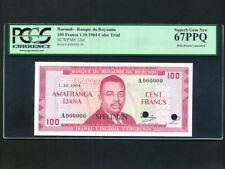 Burundi:P-12ct,100 Francs,1964 * Specimen Color Trial * PCGS S. Gem UNC 67 PPQ *