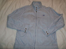 Fred Perry Linen & Cotton Blue & White Striped Zip Up Jacket Size L