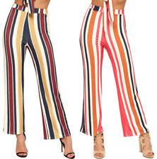 Pantaloni da donna multicolore in poliestere a gamba larga
