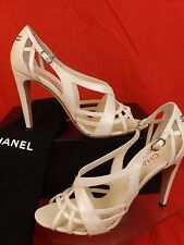 NIB CHANEL PATENT LEATHER WHITE STRAPPY CC LOGO BUCKLE SANDALS PUMPS 39.5 $925