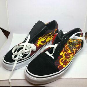 VANS OLD SKOOL SAMURAI Flames Black Red Men Sz 10.5 / Women 12 Skate Shoes NEW
