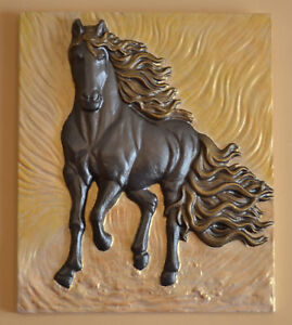 Mold Panno panel bas-relief nice beautiful horse Concrete Plaque decor wall D15