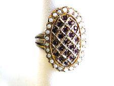 Vintage Ring Silver Shank Adjustable Rhinestone Faux Pearls