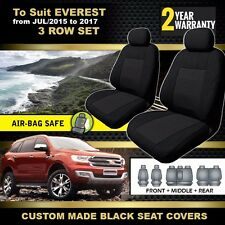 Custom BLACK Seat Covers 3 ROWs FORD EVEREST TREND TITANIUM AMBIENTE 6/2015-2017