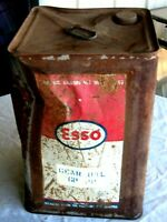 A Vintage Esso Atlantic Motor Oil Co Square 4 Imp Gallon Gear Oil Tin