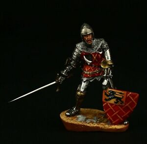 Tin soldier, Collectible, Wounded Knight on Battle, Agincourt 54 mm, Medieval
