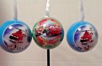 Disney cars tin ball Christmas Ornament ~ Lot of 3 balls open fillable