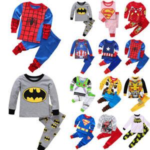 Toddler Boys Girls Superhero Spiderman Sleepwear Pyjamas Costume Fancy Set Gift