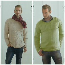 KNITTING PATTERN Mens Long Sleeve Round Neck Textured Jumpers Aran KingCole 4144