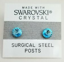 Blue Round Circle Stud Earrings 6mm Teal Crystal Made with Swarovski Elements