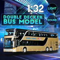 1:32 Mini Alloy Double-decker Bus W/Sound Light Pull Back Car Model Toy For