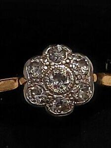 Diamond 18ct Gold Daisy Cluster Ring, 2.7gram, size L