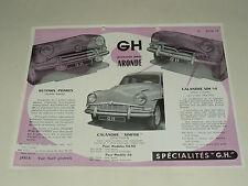 Prospectus SIMCA Aronde  Acc GH SIMFER  1958  catalogue,brochure, prospekt