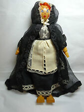 "Vintage Wooden Doll 11"" Czechoslovakia? Handmade Artist Signed Palov '45 Ooak"
