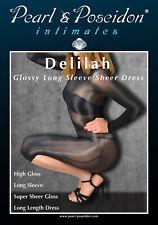 Delilah - Glossy Long Sleeve Sheer Shiny Nylon Lycra See-Through Sexy Dress