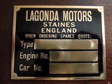 Nameplate Lagonda Motors Staines Sign Id Plate