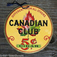 Original CANADIAN CLUB 5¢ CARDBOARD Double Sided Hanging Sign 1930s Fan Pull NOS
