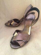 SALVATORE FERRAGAMO Solid Gold Open Toe Slingback High Heel Pump Shoe 10 B NEW