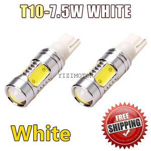 2pcs White T10 7.5W Turn Signal Tail Reverse COB LED Light Lamp Bulb W5W 194 175