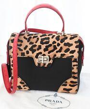 PRADA Cavallino Leopard Calfskin with Ostrich Leather Satchel Red/Black 1BA023