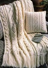Knitting Pattern Beautiful  Cable & Diamond Throw & Cushion Cover     (109)