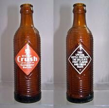 Vintage Orange Crush Soda Bottle Crinkle Amber 7 oz.