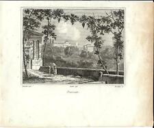Stampa antica FRASCATI veduta panoramica campagna di Roma 1834 Old print Rome