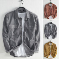 Fashion Men's Casual Corduroy Shirt Long Sleeve Button Tops Blouse Warm T Shirts