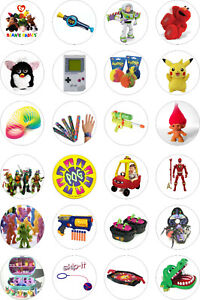 24 Edible 90's Toys Cupcake Toppers on Rice Wafer Paper