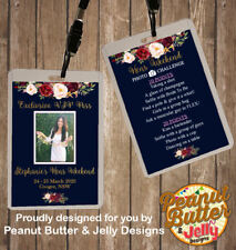 PERSONALISED NAVY FLORAL HENS NIGHT VIP PASS & PHOTO CHALLENGE LANYARD - DOUBLE